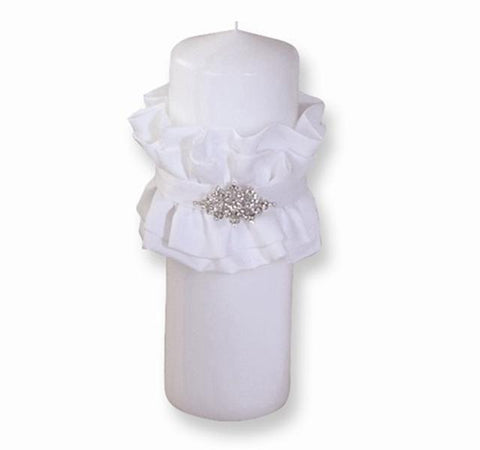 Candle with Satin and Crystal Accent