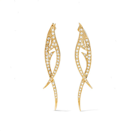Yellow Gold Thorn Drop Earrings