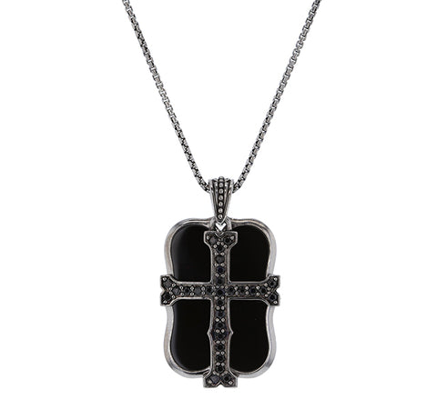 London Calling Dog Tag and Cross Necklace