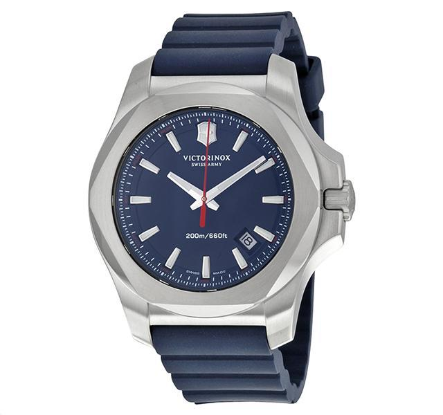Blue Inox Watch with Rubber Strap