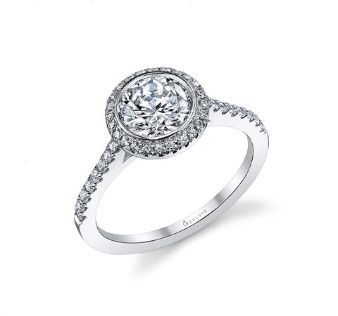 Classic Bezel Halo Diamond Engagement Ring Setting