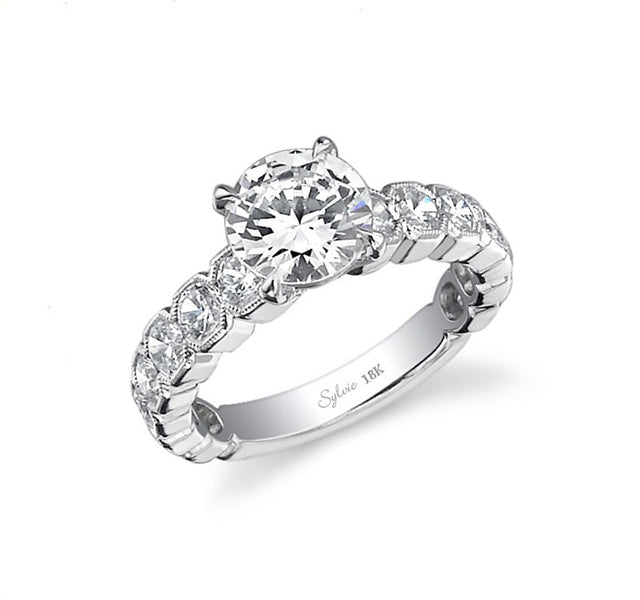 Octagonal Channel Set Diamond Engagment Ring Setting