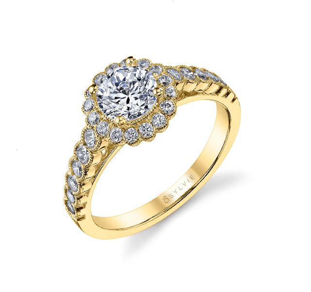 Scalloped Engagement Ring Setting in Gold