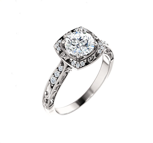 Vintage Style Filigree Setting with Diamond Halo & Sides