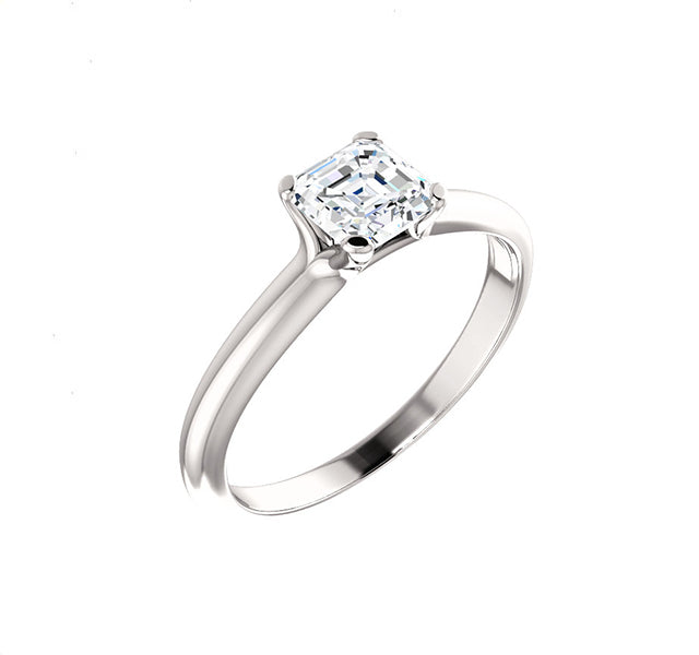 Solitaire Setting for Asscher Cut Diamond