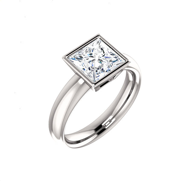 Bezel Set Princess Cut Solitaire Setting