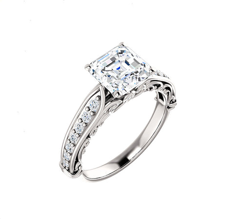 Vintage Style Setting with Side Diamonds for Princess Cut