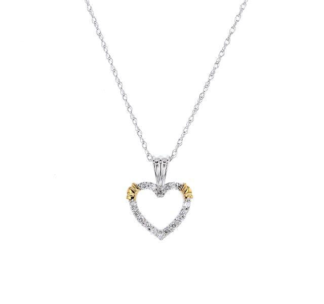 Open Heart Diamond Necklace with Yellow Gold Accents