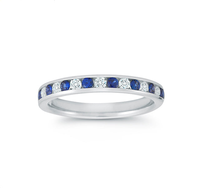 Sapphire & Diamond Channel Band in White Gold