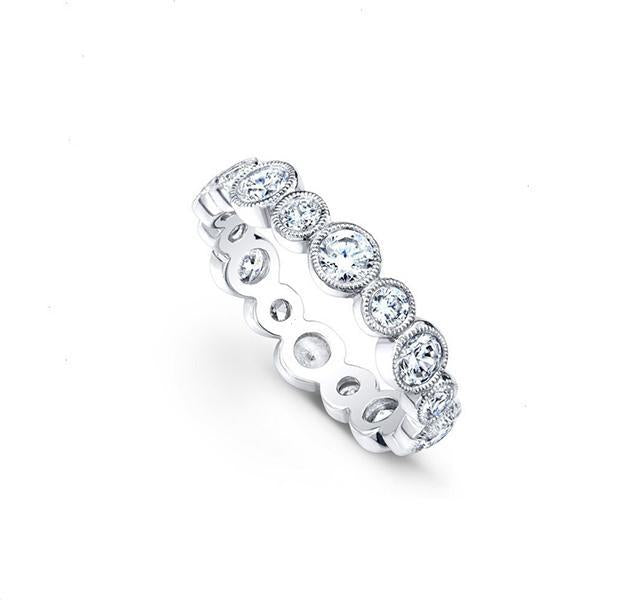 Diamond Bezel Eternity Band in White Gold