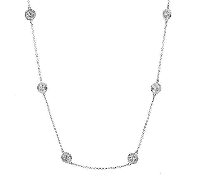 Eight Station Diamond Necklace in White Gold