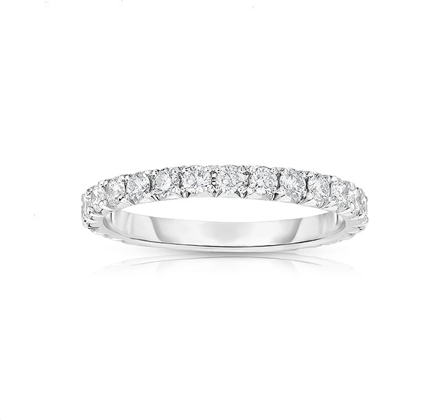 14k White Gold French Cut Eternity Band 7/8tw