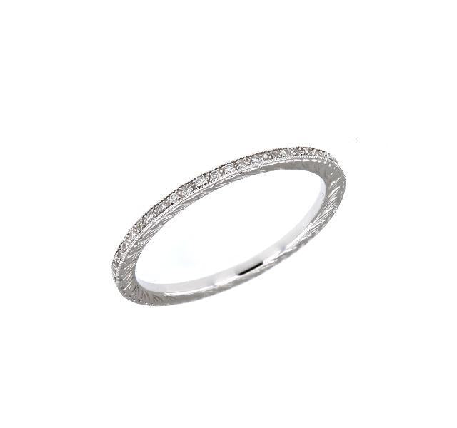 Engraved Diamond Eternity Band in White Gold