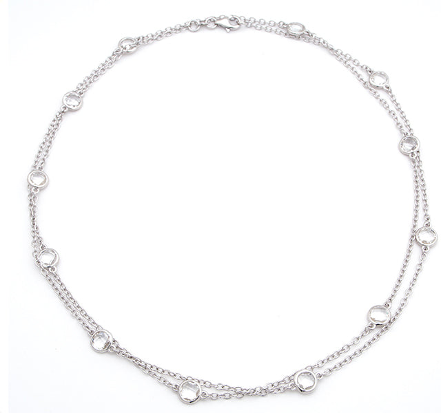White Topaz Long Station Necklace