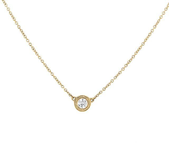 Bezel Set Diamond Necklace in Yellow Gold