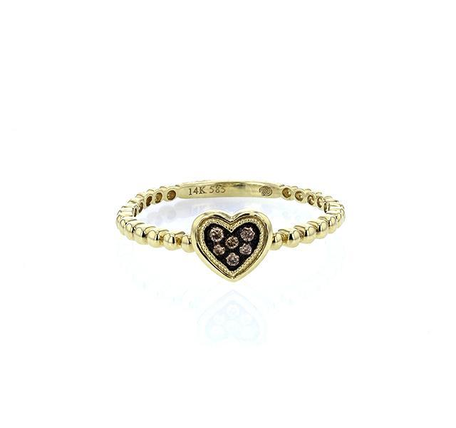 Fancy Brown Diamond Heart Ring in Yellow Gold