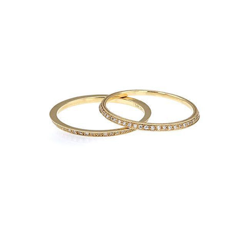 Diamond Wedding Bands (Set of 2) in Yellow Gold