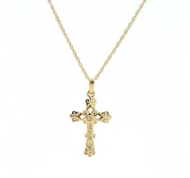 Yellow Gold Floral Cross Pendant
