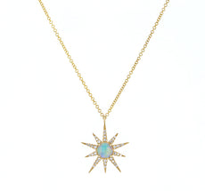Opal and Diamond Starburst Pendant