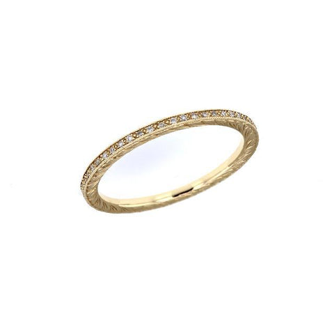 Yellow Gold Thin Diamond Eternity Band