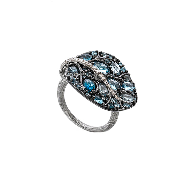 Botanical Leaf Ring with Blue Topaz in Black Rhodium Sterling Silver