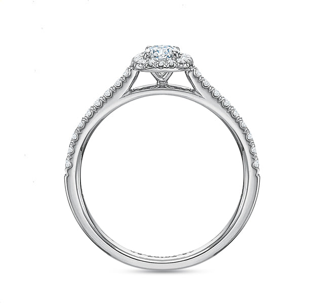 Cushion Halo Engagement Ring .50tw