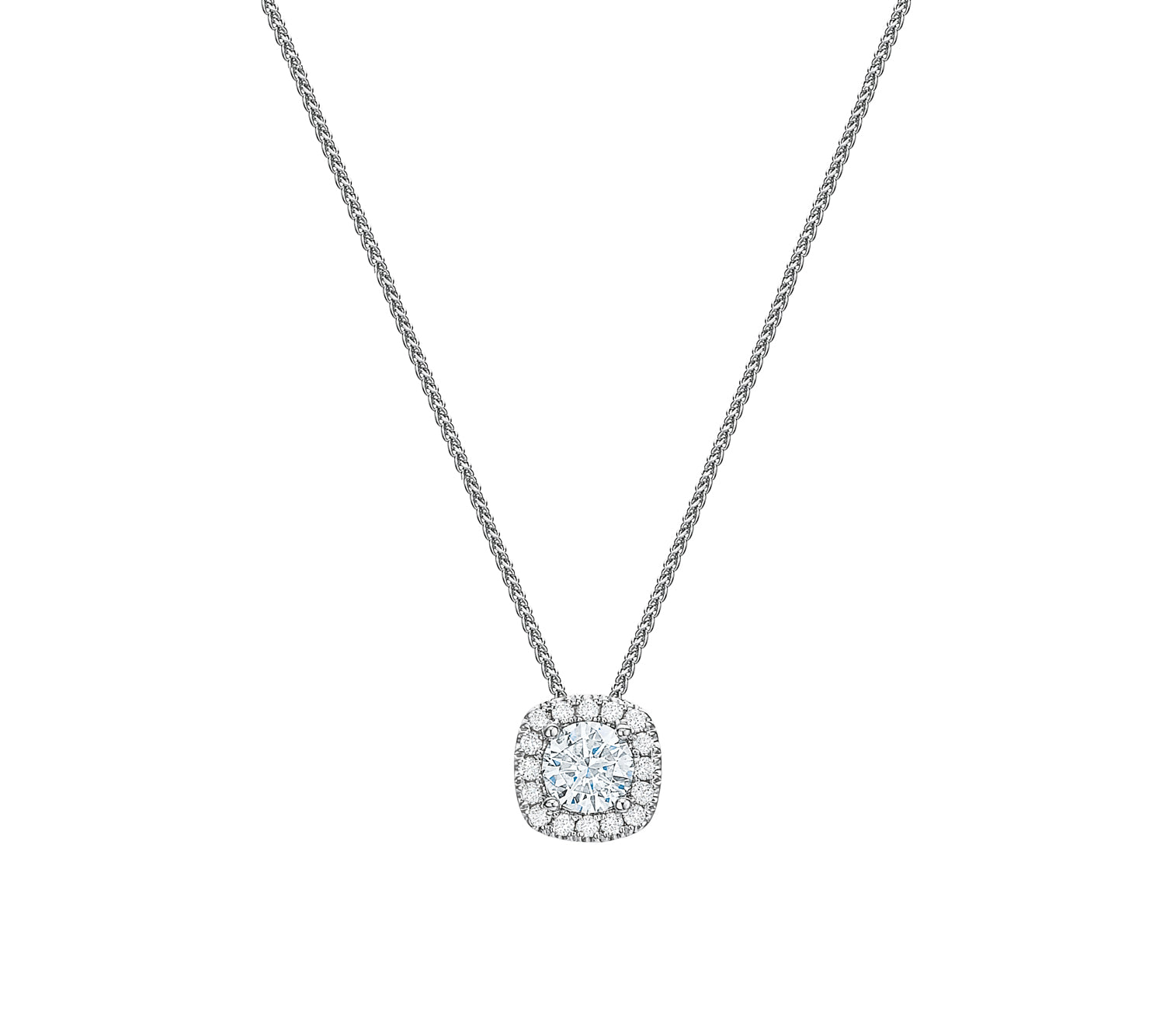 Cushion Halo Pendant Necklace .50tw