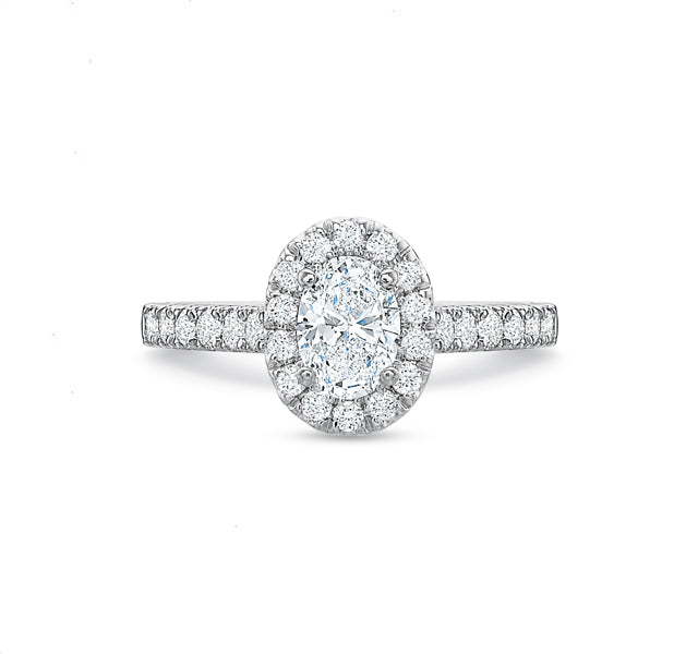 Oval Halo Engagement Ring 1.25tw