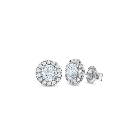 Round Diamond Halo Stud Earrings 1.00tw