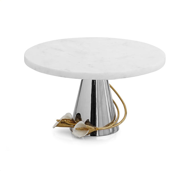 Calla Lily Marble Cake Stand