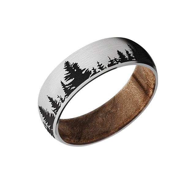 Cobalt Chrome 7mm Band With Tree Design And Maple Burl Sleeve