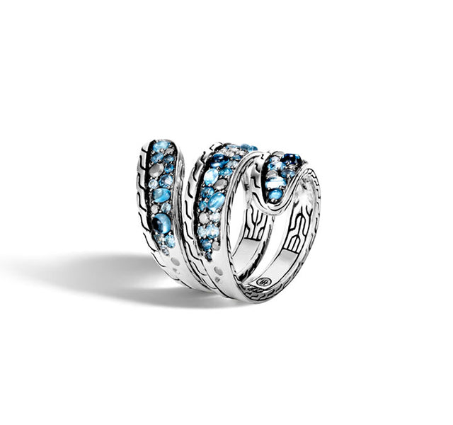 Classic Chain Ring with Mixed Blue Topaz and Siliconite