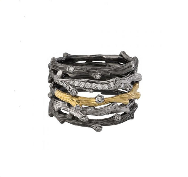 Enchanted Forest Multi Row Ring With Diamonds