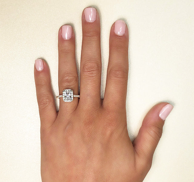 Emerald-Cut Halo Engagement Ring Setting in Gold