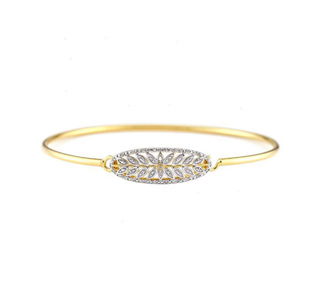 Gold Plated Bangle with Diamond Floral Center
