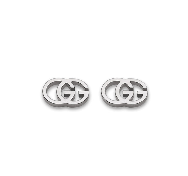 GG Tissue Stud Earrings In White Gold