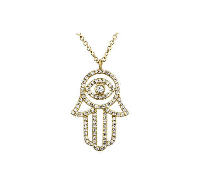 Hamsa Necklace With Diamonds In 14k Yellow Gold