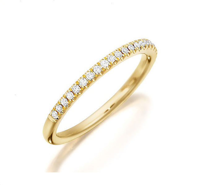 1/2 Pave Band in Yellow Gold
