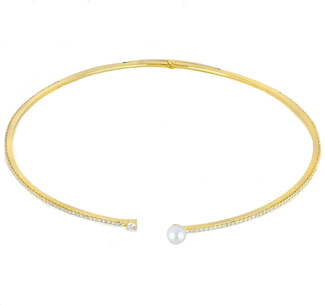 Spectrum Diamond and Pearl Collar in Yellow Gold