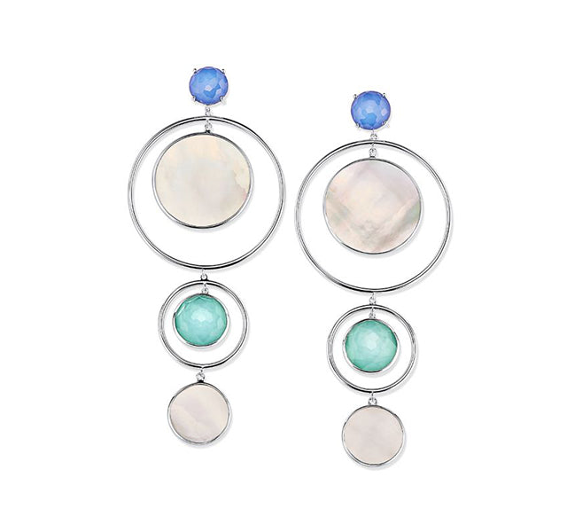 Circles, Stones, and Shells Statement Earring in Sterling Silver