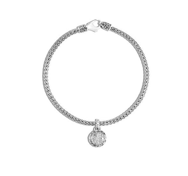 Classic Chain Round Charm Bracelet with Diamonds