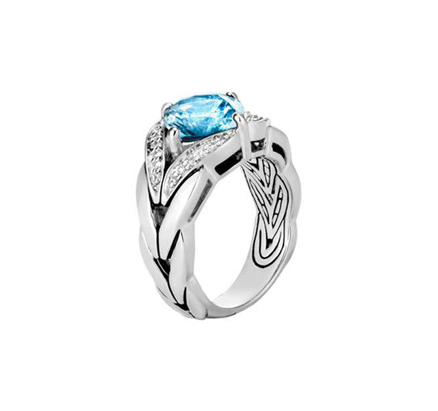 Magic Cut Ring with Blue Topaz and Diamonds
