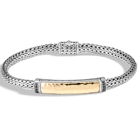 Classic Chain Bracelet With Hammered Bar