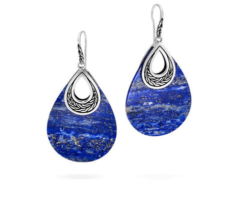 Classic Chain Teardrop Earring with Lapis Lazuli