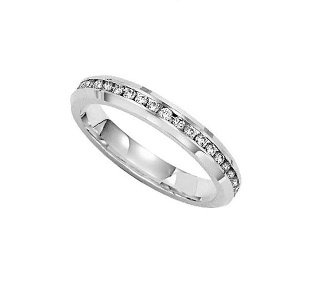 Beveled Edge Channel Band in White Gold