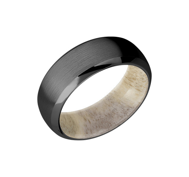 8 mm wide Domed Bevel Zirconium band featuring a Antler Sleeve