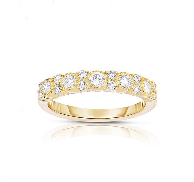 14k Yellow Gold Band With Bezel and Prong Set Diamonds