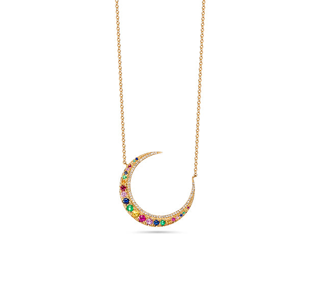 Crescent Moon Necklace With Diamonds And Multi-Colored Sapphires In 14k Yellow Gold