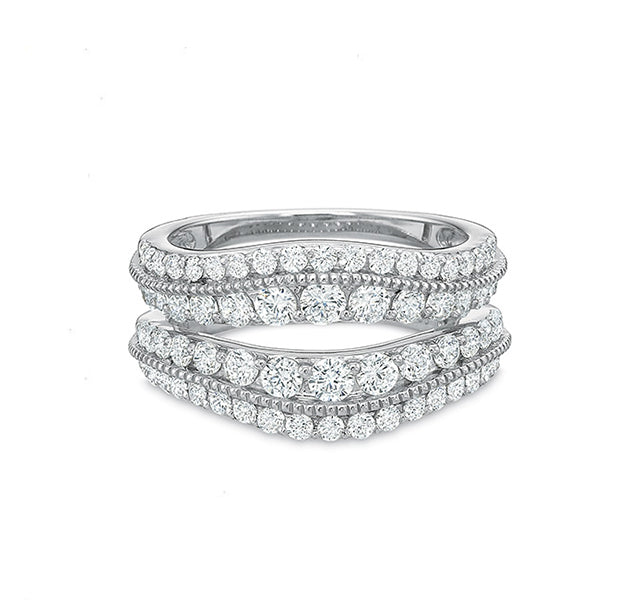 Curved Beadset Diamond Insert Ring