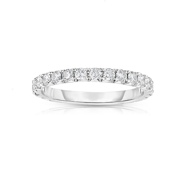 14k White Gold French Cut Eternity Band SZ 5